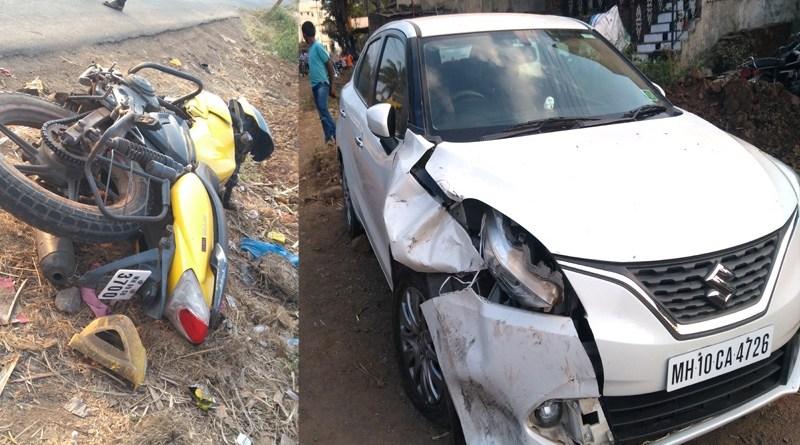 दुचाकी-चारचाकी वाहनांची समोरासमोर धडक होऊन भीषण अपघात : सुपात्रेतील युवक गंभीर जखमी
