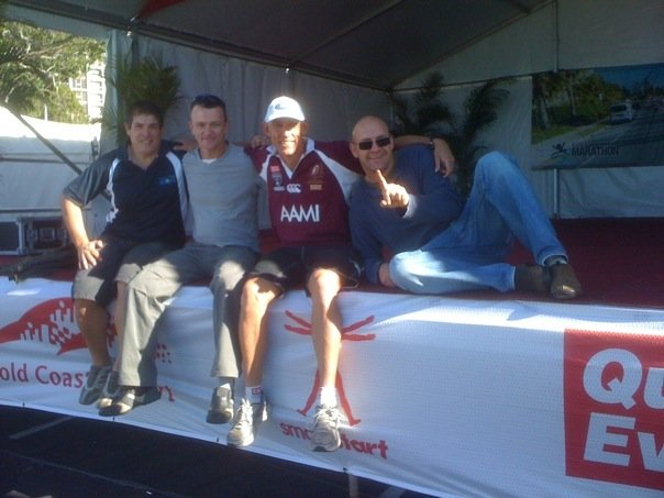 The Tent Crew on Saturday after setting up in the club area: Fabian Gonzalez, Stan Fetting, Brett Jackson, Jerrod Smith