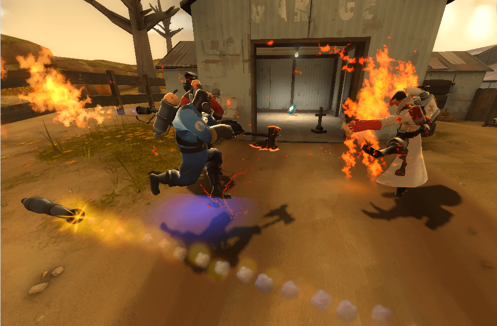 Hey, I'm hitting your medic with my flaming axe. You should stop me. Too late.