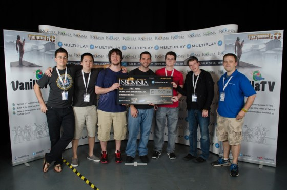 Classic Mixup, the winning team of i46. From left to right: PYYYOUR, enigma, harbleu, Platinum, TLR, and Ruwin.