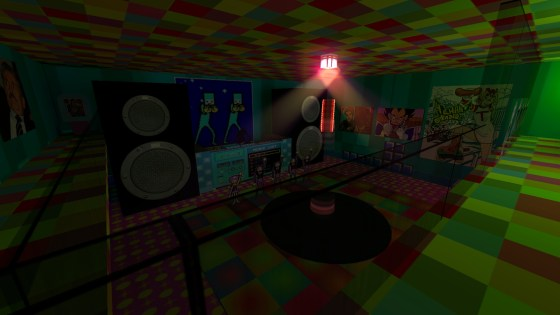 The disco room, featuring the Space Dancers from Rhythm Heaven.