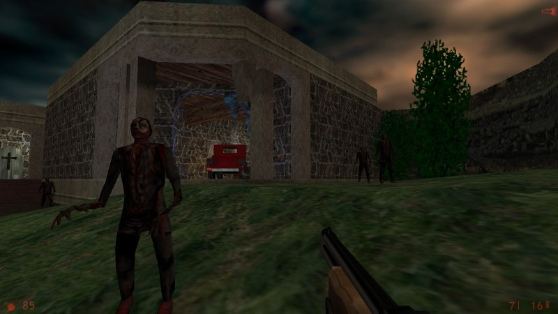 In the original Half-Life, and in this mod called They Hunger, both weapons are merged into one. You can fire this shotgun single- or double-burst style with the left and right-mouse keys.