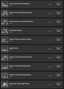 The Dota items. All of these items are at a much lower price than the TF2 items, with a much larger selection.