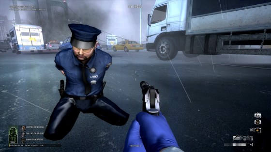 Also, the most reliable method for hostage-taking is to melee the cop then mash F while their knockback animation plays.