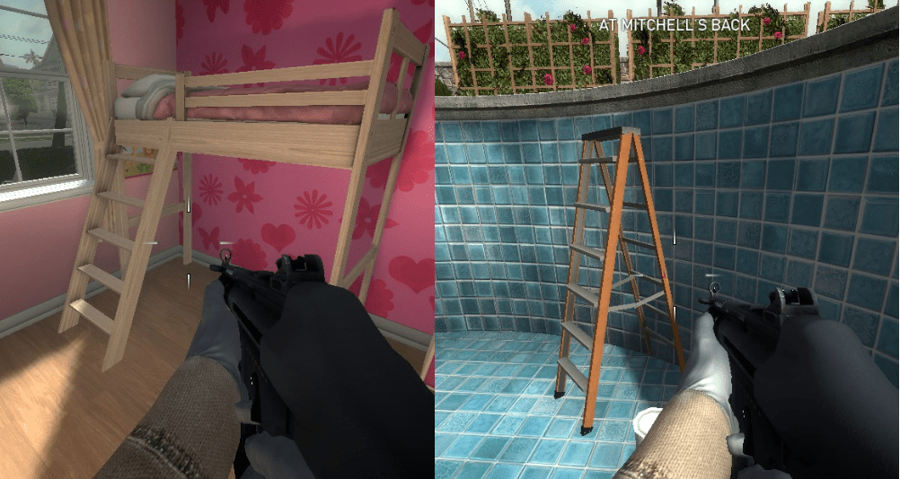 The very few ladders in the first game are tilted, meaning they require no special physics to use.