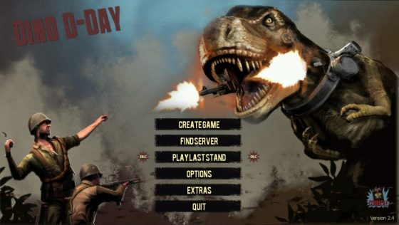 The main menu, with the sort of action pose you'd expect out of this.