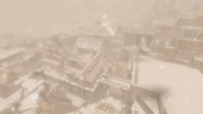 The (currently burning) city of Windhelm