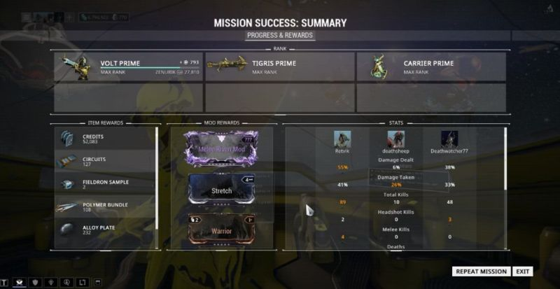 A recent shotgun-only sortie which I totally carried in. Also got my first melee riven mod, which turned out to be for a shitty Dual Razas.