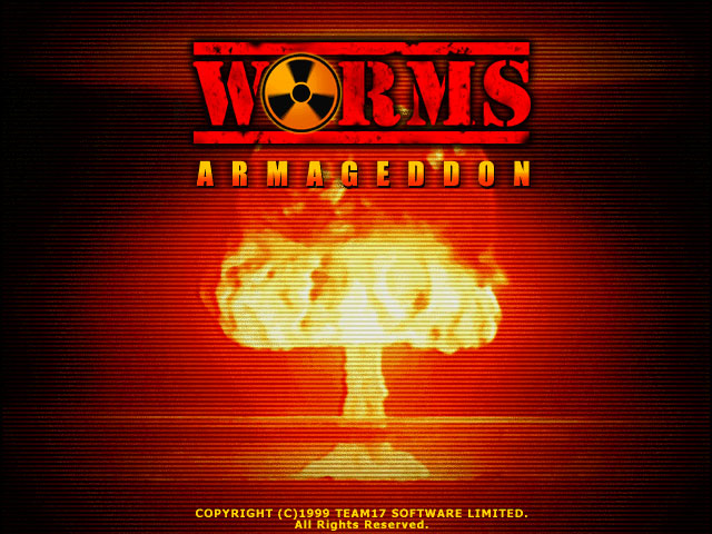 The loud and somewhat annoying title screen for Worms Armageddon. Made at least one cousin jump out of their skin because of how sudden it is.
