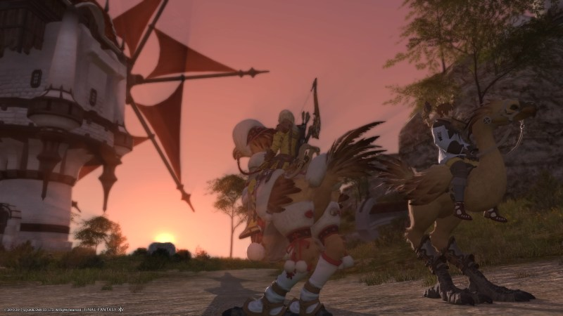 On chocobos at sunset in La Noscea.
