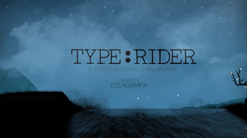 Main menu and title of Type:Rider set against a starlit sky.