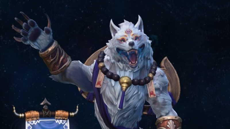 Inugami Fenrir waving with a broken smile.