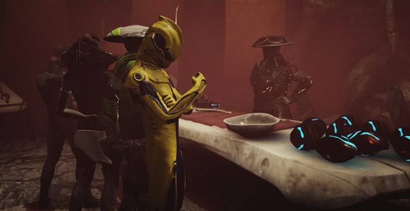 A Tenno spends cores for standing with Onkko