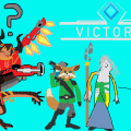 MS Paint art of Drogoz, Pip, Inara and Evie becoming more hastily drawn left to right.