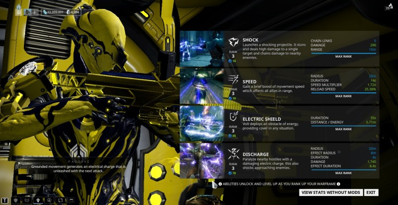 Stats on Volt's Abilities with the mod setup above.