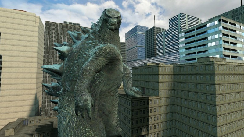 The 2014 Godzilla model was really hard to pose so I kinda just jammed him into the side of some buildings...
