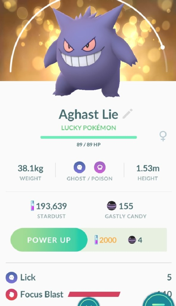 My lucky Gengar, evolved during the event, named after Auto Correct
