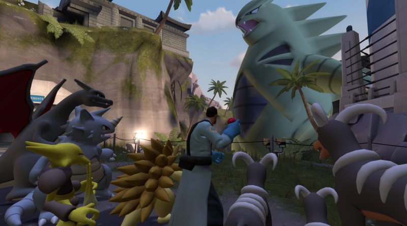 Medic and a bunch of Pokemon face a massive Tyranitar
