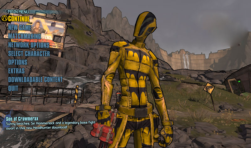 The BL2 Main Menu. Zer0 is really dreading doing that starter level again...