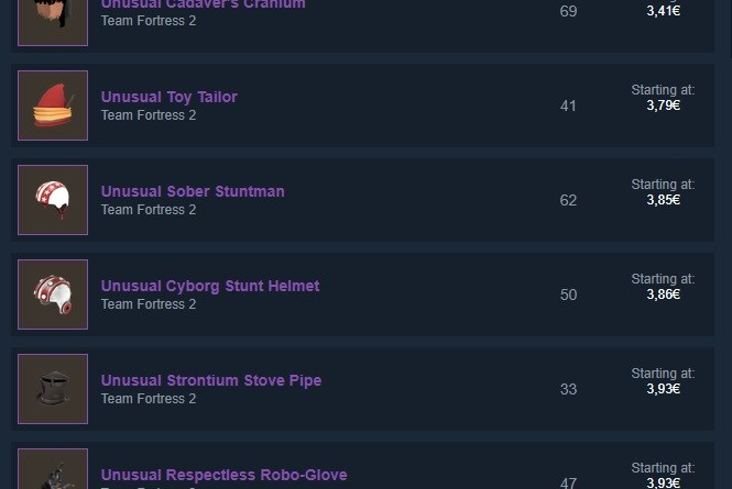 Cheap Unusuals on the Steam Market