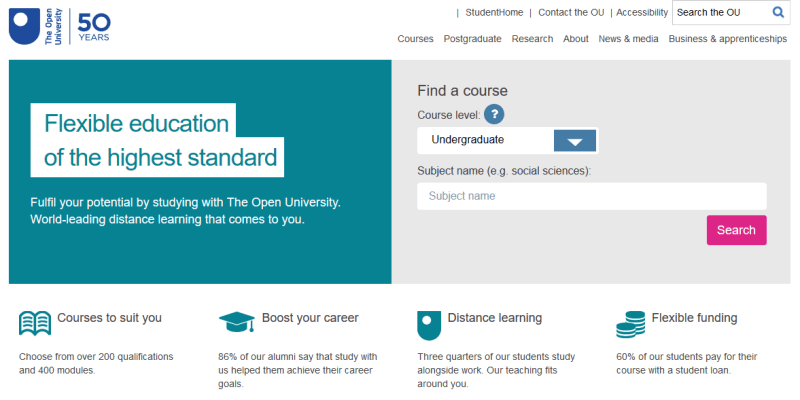 The Open University homepage