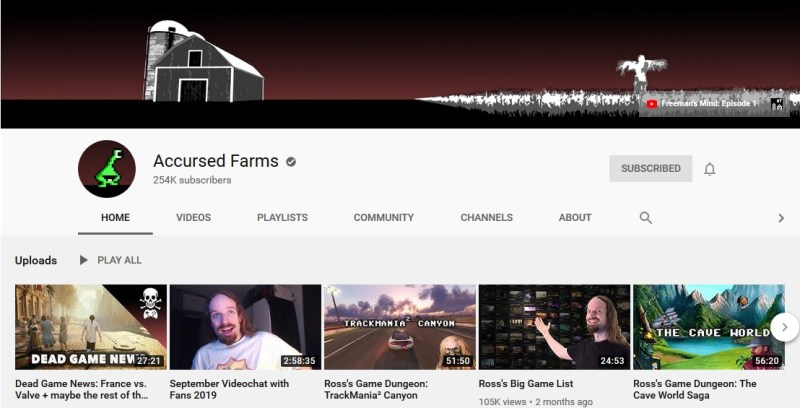 Accursed Farms Youtube Channel