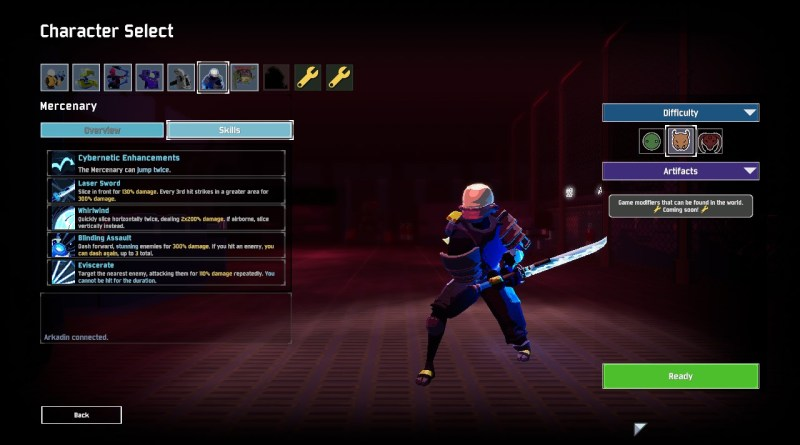 The Mercenary as displayed on the character select screen in Risk of Rain 2.