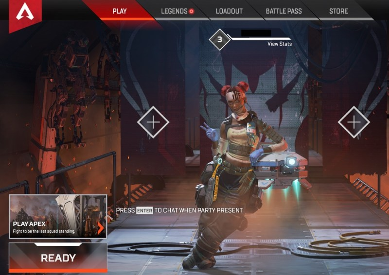 The Apex Legends main screen where you can ready up for battle.