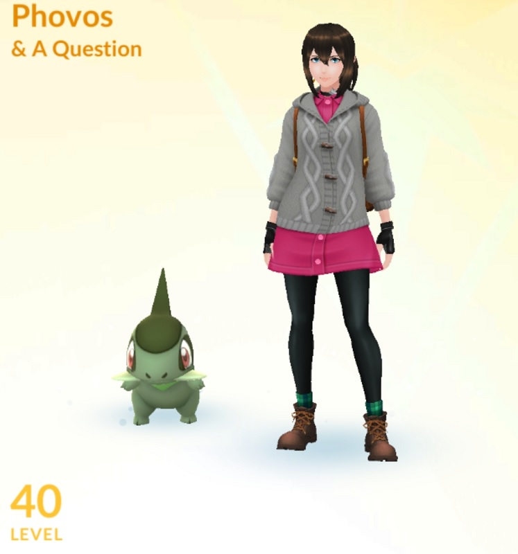 Phovos and her Axew, at level 40. Level 40! Finally!