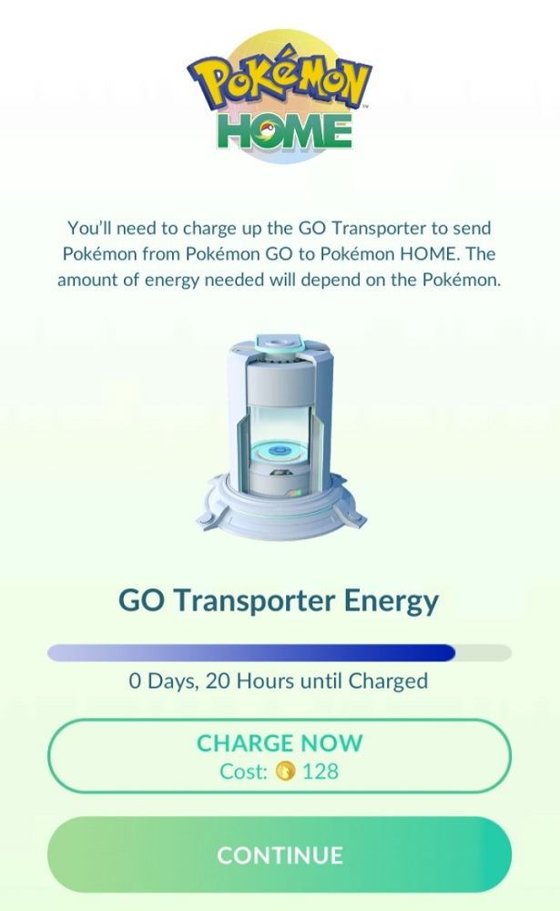 Transferring Pokemon from GO to HOME costs energy, which can be recharged with coins, or done slowly over time.