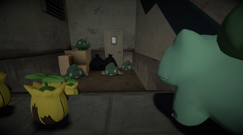 Some Sunkern and a Bulbasaur tut at some Trubbish in an alleyway.