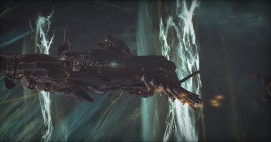 A Grineer Galleon in the middle of a Void Storm