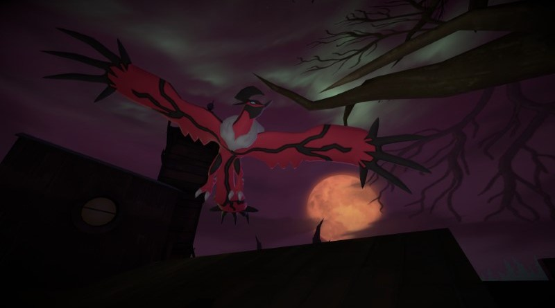 Yveltal flying over a blood moon