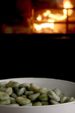 Höstmys, skala bondbönor framför brasan
