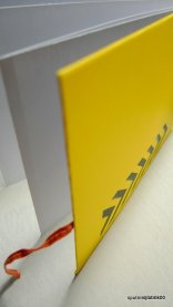 catch me if you can - accordian fold book in canary yellow with chevron detail stenciled by hand