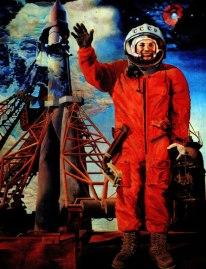 Pintura de Vladimir Vasilenko. Yuri Gagarin. 1977.