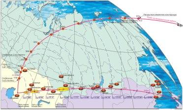 Zonas de impacto de las etapas al separarse del cohete portador. Fuente: Roscosmos.