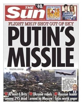 Los Misiles de Putin - Portada del semanario británico 'The Sun'. también criticado en el Reino Unido .