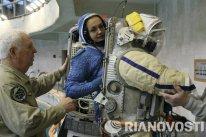 Elena Serova durante un entrenamiento en el Hidrolaboratorio, Ciudad de las Estrellas (Moscú).