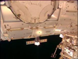 La Soyuz TMA-14M perfectamente acoplada al módulo Poisk (MIM-2). Foto: NASA TV.