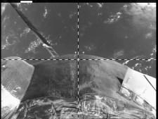 Vista posterior de la nave Soyuz TMA-16M. Foto: NASA TV.
