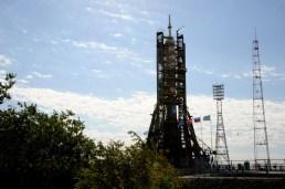 31 de agosto de 2015: La nave espacial Soyuz TMA-18M preparada para el vuelo en la plataforma de lanzamiento en tren, Cosmódromo de Baikonur en Kazajstán. Foto: S.P. Korolev/RSC Energia.