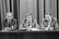 Conferencia de prensa con los Miembros del Comité de Estado de Emergencia, presidido por Guennadi Yanáyev y representantes de línea dura del PCUS en el edificio del Ministerio de Relaciones Exteriores de la URSS, durante la intentona golpista contra Gorbachov . Foto: ITAR-TASS.