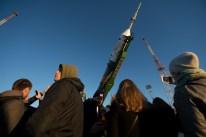 16 de Octubre de 2016: El cohete de la nave espacial Soyuz MS-02 en la plataforma de lanzamiento en el Cosmódromo de Baikonur en Kazajstán. Crédito de la imagen: NASA / Joel Kowsky.