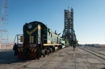 14 de Noviembre de 2016: El cohete de la nave espacial Soyuz MS-03 en la plataforma de lanzamiento en el Cosmódromo de Baikonur en Kazajstán. Crédito de la imagen: NASA / Bill Ingalls.