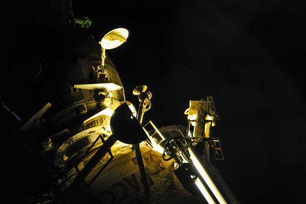 La nave Soyuz MS-03 acoplada al módulo Rassvet MRM-1. Foto: Roscosmos / Twitter.