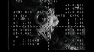 Módulo Rassvet MRM-1 visto desde la Soyuz MS-03, durante las maniobras de acoplamiento. Foto: NASA TV.