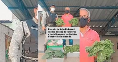 Presídio de João Pinheiro realiza doação de verduras e hortaliças a instituições beneficentes do município