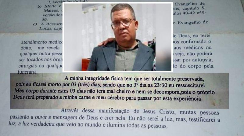 Pastor escreveu que ressuscitaria no 3º dia e viúva não libera o corpo aguardando ressurreição