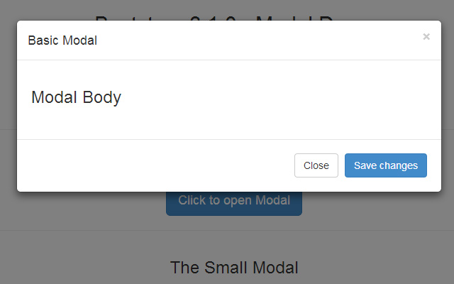 javascript bootstrap modal window snippet code